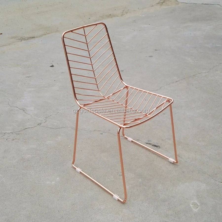 Rose Gold Wire Dining Chair,Metal Wire Mesh Stackable Chair - Buy ...