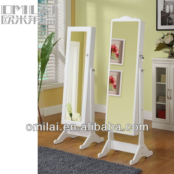 luxury white wooden frame decorative mirror/ palace painted dressing mirror for bedroom set decoration