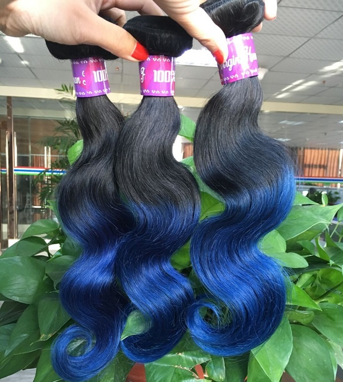 Hot products on sale human hair 1B/blue 2 tone color straight wave 3 pics brazilian virgin hair bundles