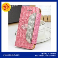 smart phone crocodile skin pattern leather flip cover case for gionee ctrl v5 v182 v183 v185 v188
