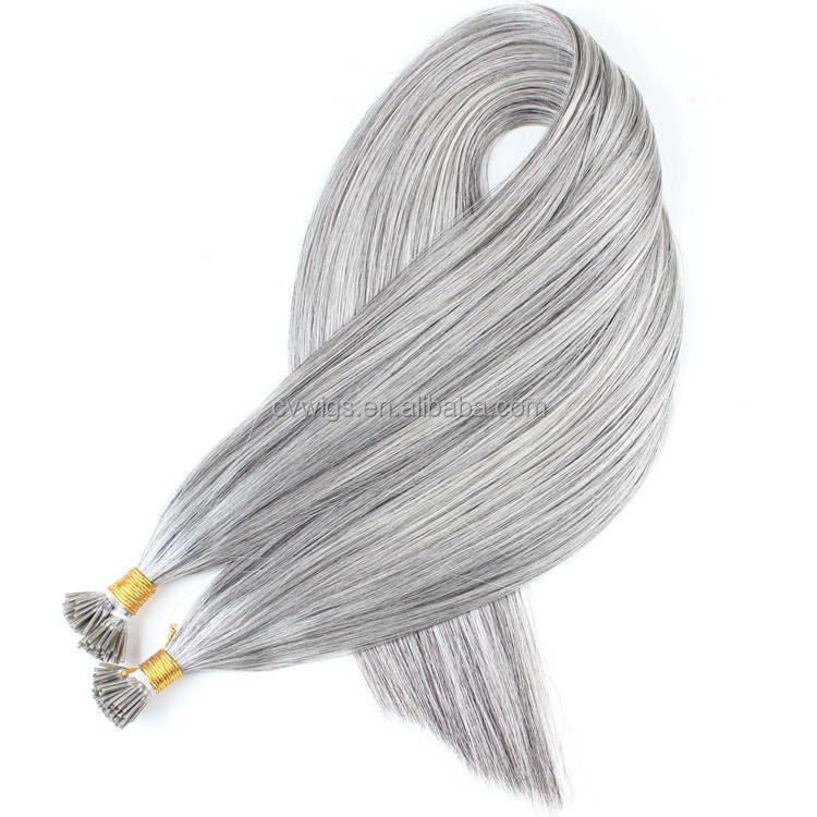 1g/strand,100strand per pack grey color 100% unprocessed virgin hair I tip hair extension