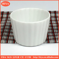 cup cake ceramic bowl with stripe design,flat bottom bowl