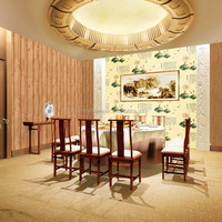 Interior decoration vinyl pvc paper wallpaper with chinese style for restaurant