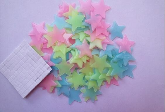 100pcs Plastic Stars Kids Bedroom Home Decor Luminous Fluorescent 3D Wall Stickers Decal
