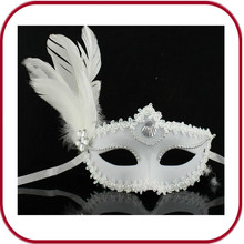 cock feather party face masks with stick PHMA-0118