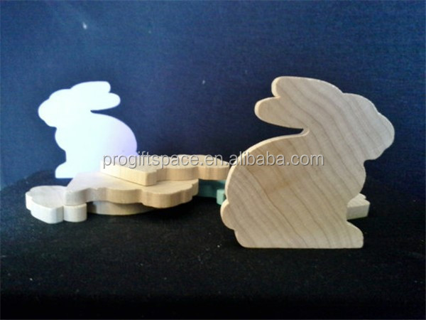2017 Wooden Bunny Rabbit Shape Sitting Rabbit Easter Toy Craft made in China