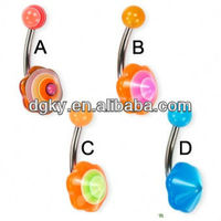 2013 New Body Jewelry Acrylic flower-shaped umbrella belly button ring
