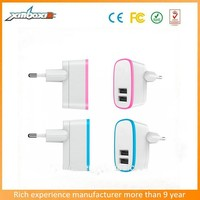 2015 UK / EU / US / Type Plug wall charger 2.1a 2-port USB output and Built-in IC chip and safety fuse-5V/2.1AMP