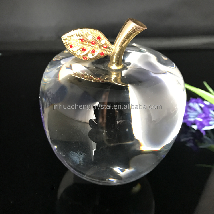 decorative wedding gift clear crystal glass apple