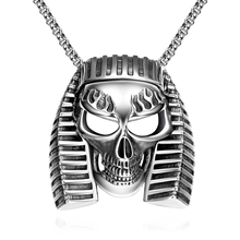 Egyptian Men Skull Pendant Chain Punk Jewelry Stainless Steel Necklace