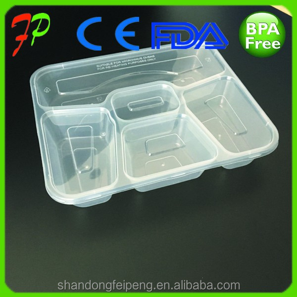 transparent 5 compartment PP Plastic Type and Use food grade container