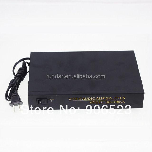 free shipping drop shipping 108VA 1 in 8 out Audio Video Amplifier Splitter Distributor