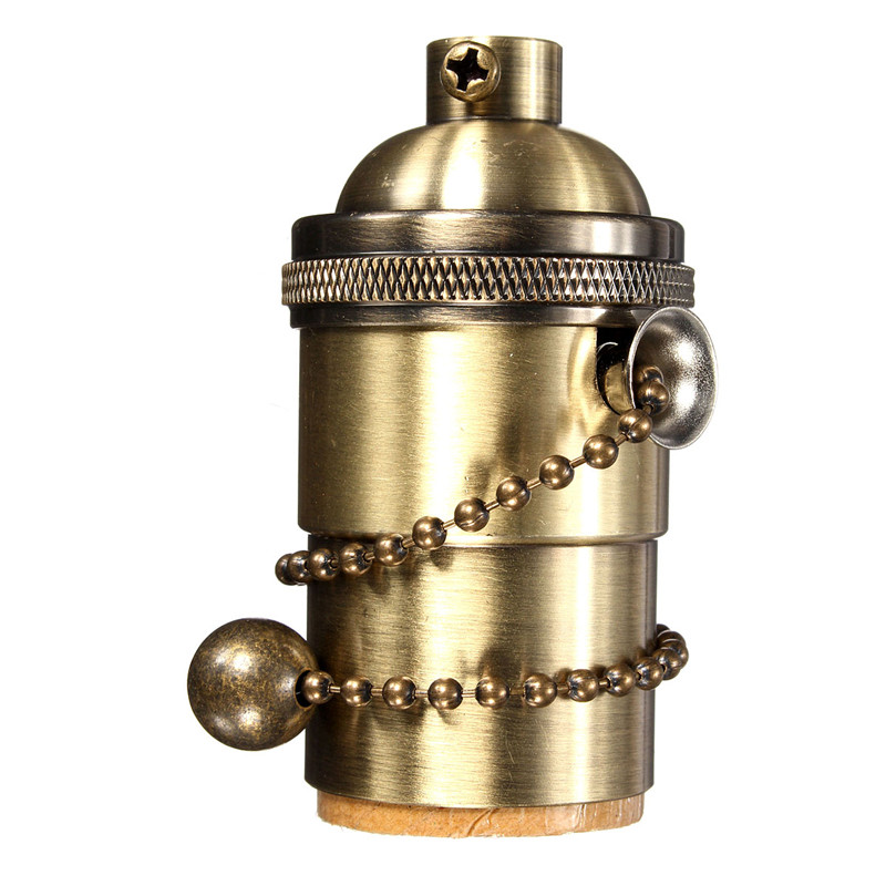 China Supplier Antique Style Light Socket cover Pull Chain Vintage Industrial Lamps Pendants brass lamp holder