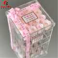 Custom large clear acrylic rose packaging display box with lid