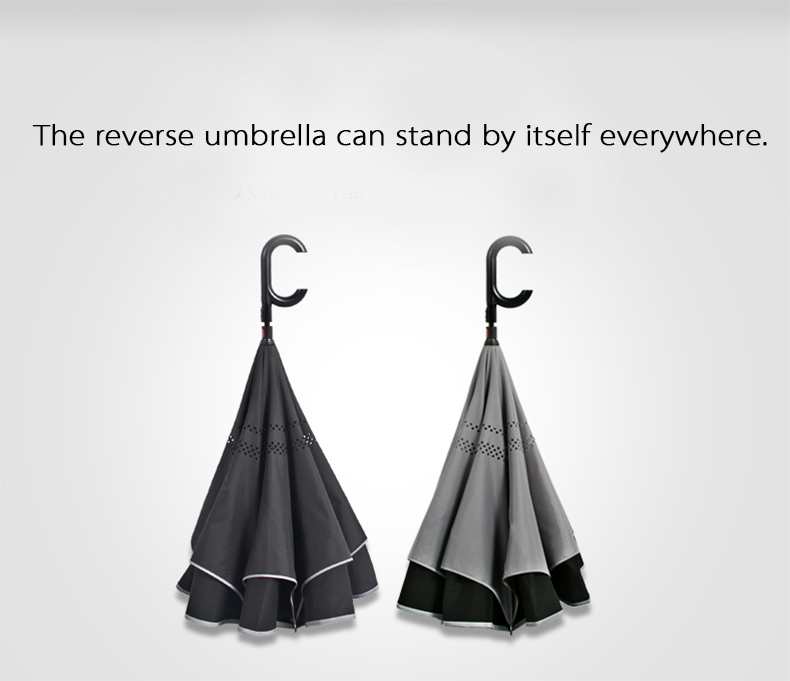 Cheap Double canopy popular straight hands free reverse inside out umbrella for car
