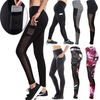 2018 new wholesale mesh panel inserted high waisted woman leggings yoga pants with pockets