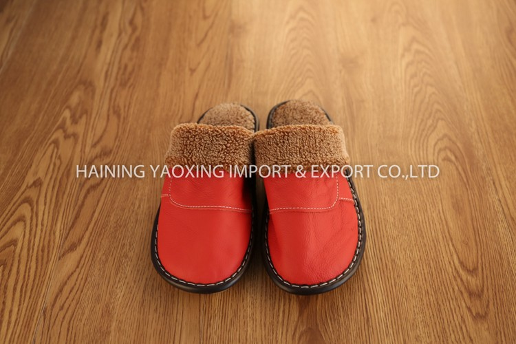 Hot genuine leather cow fashion women fancy indoor slipper custom supplier