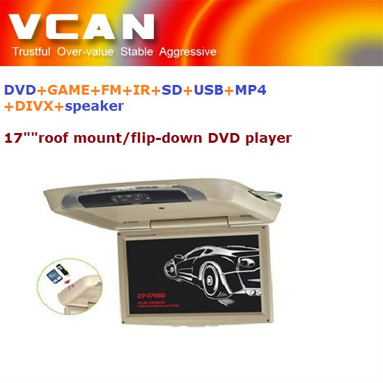 "20 inch car roof mount /17"" in car flipdown/roofmount/overhead DVD player with DVD+GAME+FM+IR+SD+USB+MP4+DIVX+speaker function"