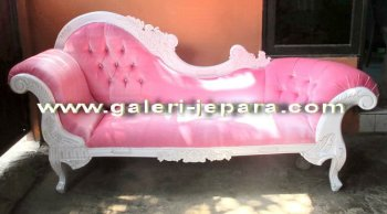 Lounge Chaise Pink Color - Wood Sofa Jepara - Sofa Office Furniture