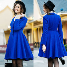 Most Popular Ladies Royal Blue Woolen Swing Dress Coat