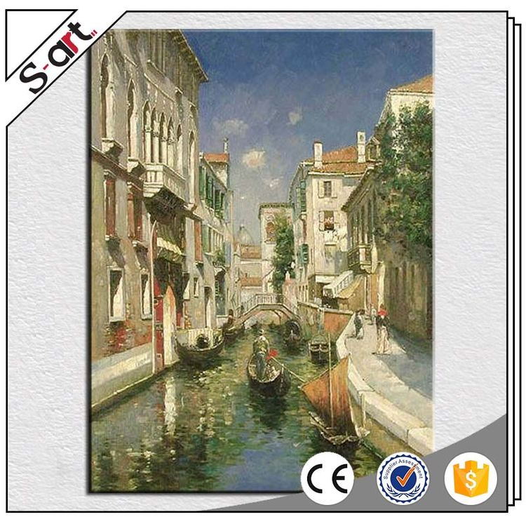 China wholesale competitive price venice landscape decor oil painting with frame