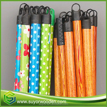 many flower color wooden grain color Pvc Coated Wood Broom Stick