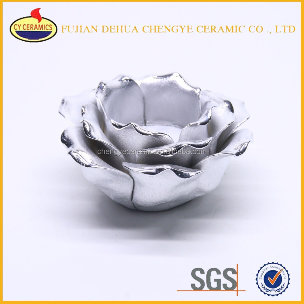 Twins Ceramic Flower Rose Lotus Candle Holder with antique silver color 2 sets Made in China