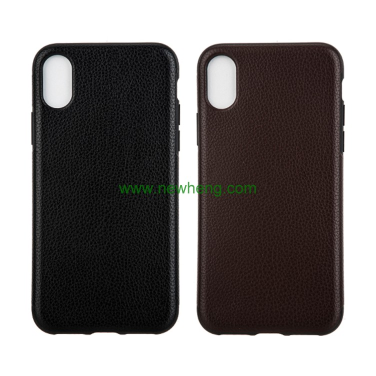 New Products Litchi Pattern Skin Pu Leather soft tpu back cover case for iphone X