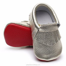 latest designs gold moccasins with red bottom genuine leathe wholesale shoes baby moccasins baby shoes girl