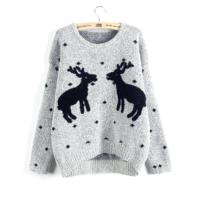 ZH0330C long sleeve jacquard deer pattern pullover women xmas christmas sweater wholesaler