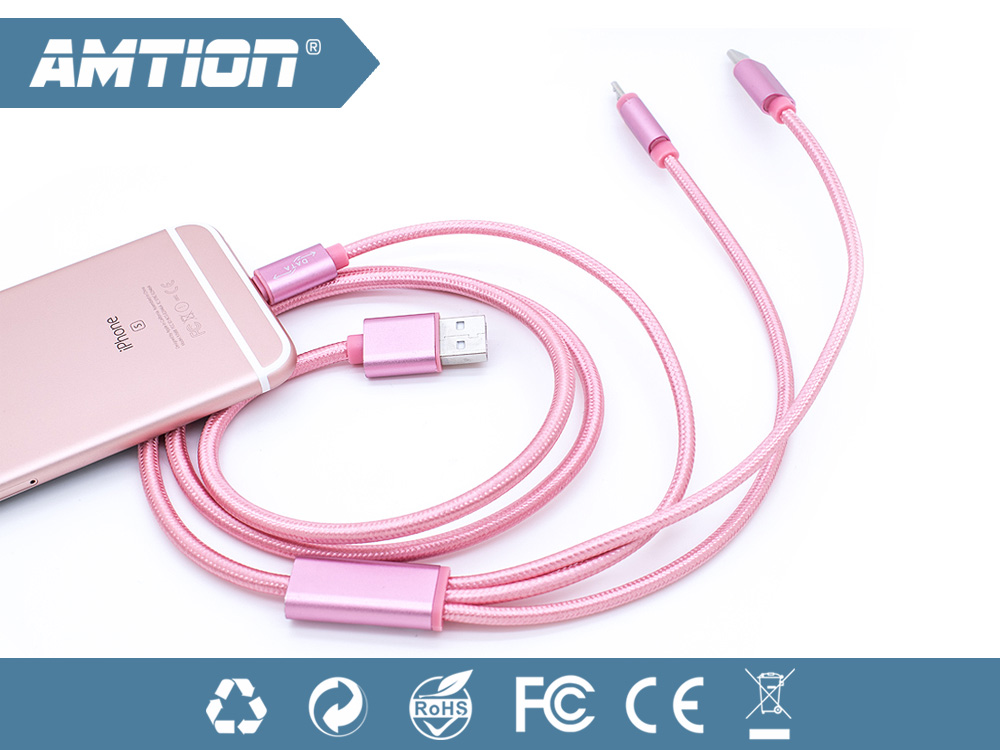 rose gold nylon braided multi-function usb charger 3 in 1 cable For iPhone Samsung