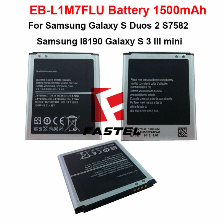 New OEM EB-L1M7FLU Li-ion Mobile Phone Battery For Samsung I8190 Galaxy S 3 III mini,Galaxy S Duos 2 S7582 1500mAh