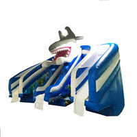 Factory Cheap Prices Blow Up Bounce Round Slip and Slides Playground Giant Shark Inflatable Water Slide For Sale