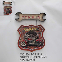 Custom printing antique embossed car tin sign wall hanger plate for wall