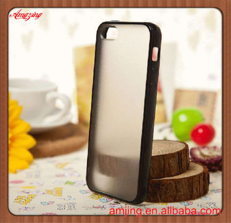 High quality tpu and pc case for iphone 5 tpu bumper + matte pc backside case for iphone 5