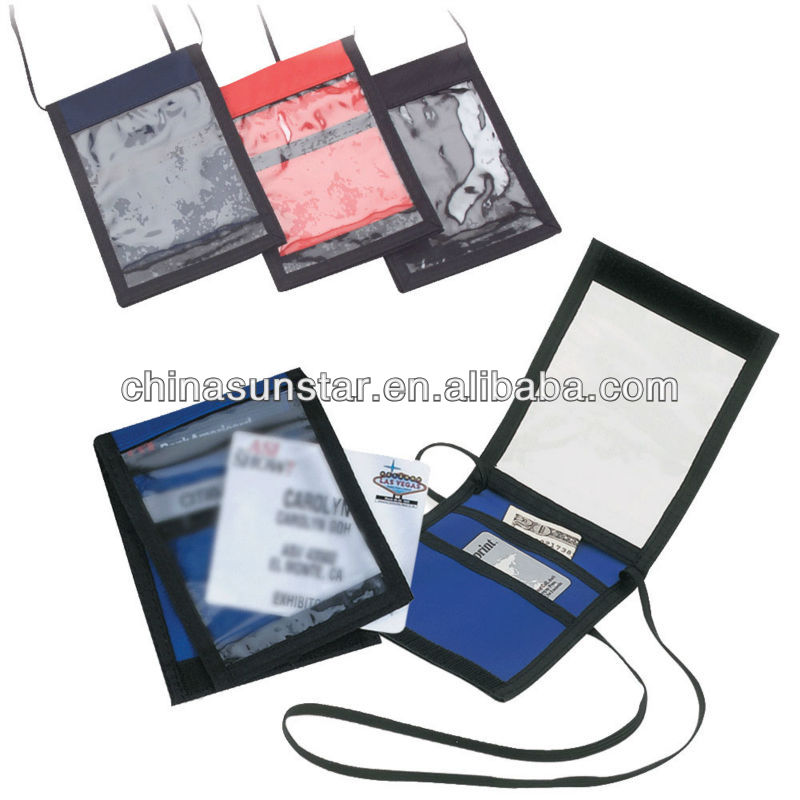 Tri-fold neck wallet with two compartment & clear pocket