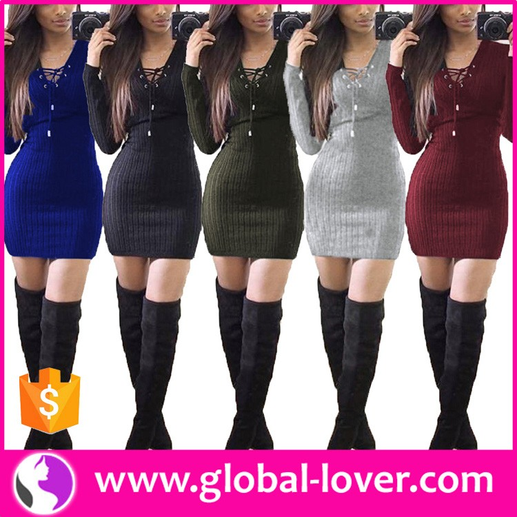 China Asian Clothing Supplier Women Winter Dress Sweater Dress