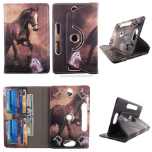 Brown Horse HD Print Design Universal 360 Rotary PU Leather Folio Stand Shockproof Flip Tablet Case
