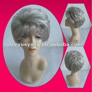 Short Synthetic Grey Full Lace Wigs For Women