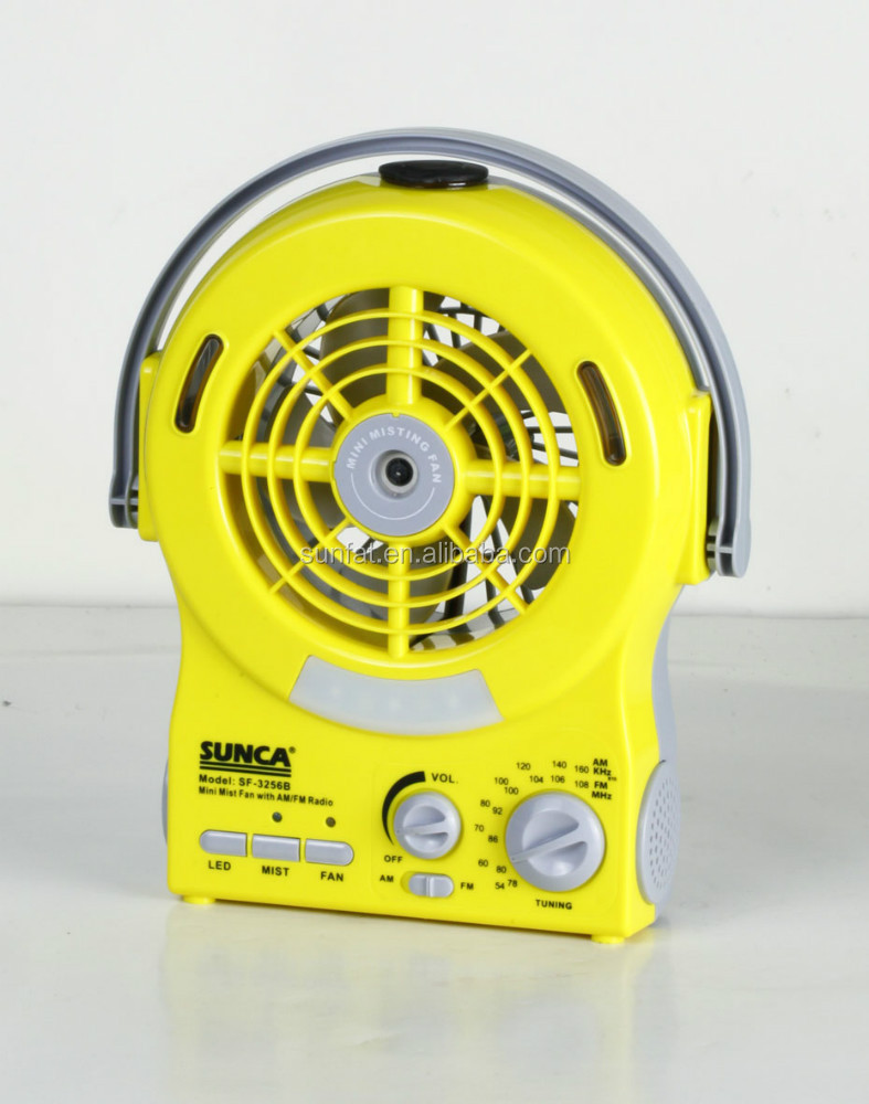 AC/DC RECHARGEABLE MINI MIST FAN WITH AM/FM RADIO