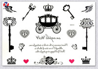 Non-toxic Crown And Carriage Design Large Permanent Tattoo Sticker