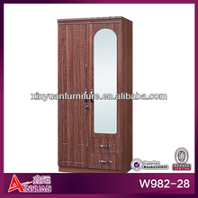 W982-28 hot sell China Foshan 2 door 2 drawer with mirror and hanging space small wooden Armoire Storage Cabinet Wardrobe