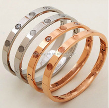 Wholesale gold rose gold plated stainless steel love bracelet screw