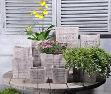 Chaozhou Cement/Concrete Flower Pot Wood Color Garden Decoration