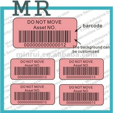 Competitive Price Permanent Adhesive Sticker Anti-counterfeit Digital Barcode Security Label With Serial Numbers