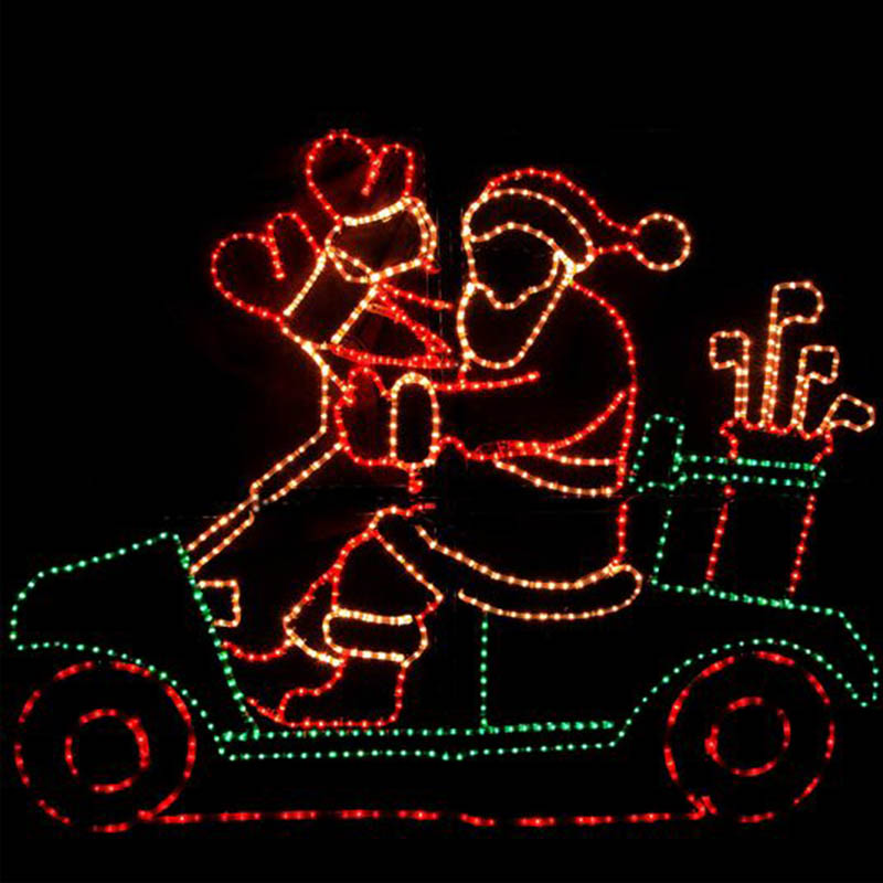 Commercial Christmas displays animated 2D rope light sculpture LED motorcycle christmas lights