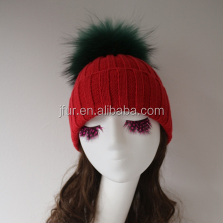 Janefur Women Emerald Raccoon Fur Pom Winter Knitted Hat Warm Caps