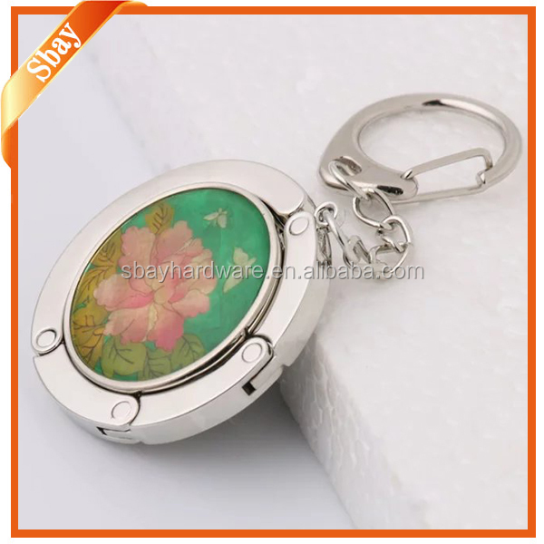 Keychain style custom logo table purse hook,foldable bag hanger