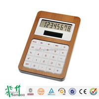 Christmas promotion bamboo wooden 8 digit desktop solar calculator