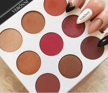 veronni 9 colors long lasting eye shadow make up cheap eye shadow palette burgundy and bronze eyeshadow palette